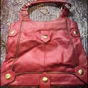 Red ladies leather handbag